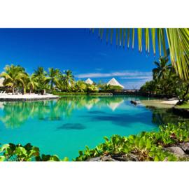 Fotobehang poster 1443 strandhuisjes palmen paradijs