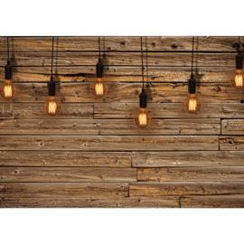 Fotobehang poster 1281 hout planken bruin lampen