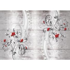Fotobehang poster 0953 grijs bloemen rood