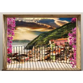 Fotobehang poster 4545 uitzicht balkon toscane