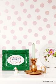 Eijffinger Rice 359061 stippen dots roze glitter wit achtergrond