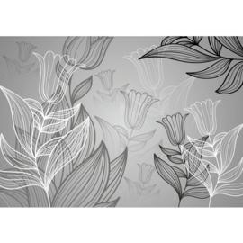 Fotobehang poster 1104 bloemen grijs zwart wit tekening getekend