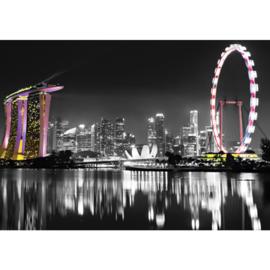 Fotobehang 1492 reuzenrad skyline nacht lichtjes lampjes
