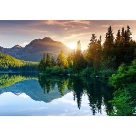 Fotobehang landschap bergen water 350 x 245