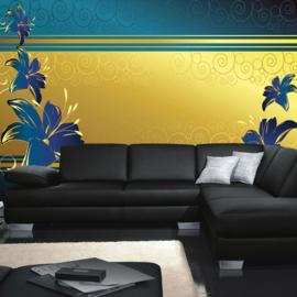 Fotobehang poster 0572 bloemen blauw goud streep patroon