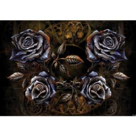 Fotobehang poster 0715 rozen blauw bloemen