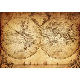 Fotobehang poster 0076 landkaart wereldkaart wereldbol vintage