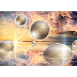 Fotobehang poster 2687 kunst ballen wolken bellen fantasie
