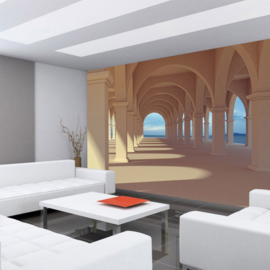 Fotobehang poster 0069 gewelven bogen bouwwerk architectuur 3d