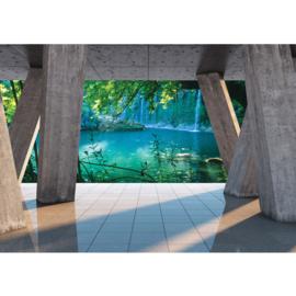 Fotobehang poster 1783 water natuur waterval planten zuilen