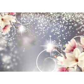 Fotobehang poster 1883 bloemen magnolia met glitters