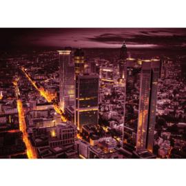Fotobehang 0958 skyline lila geel lichtjes