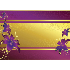 Fotobehang poster 0573 bloemen paars goud patroon streep