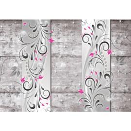 Fotobehang poster 0954 grijs hout bloemen roze