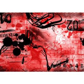 Fotobehang poster graffiti 0036 kinderkamer jongens stoer rood