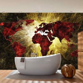 Fotobehang  3333 wereldkaart rood geel