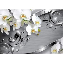 Fotobehang poster 0603 orchidee wit patroon grijs bloem