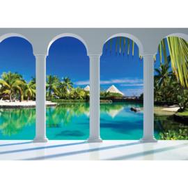 Fotobehang poster 1632 zuilen water palmbomen boom planten groen lucht blauw