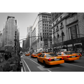 Fotobehang poster 0194 manhattan taxi geel yellow cab new york auto