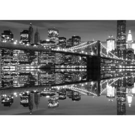 Fotobehang 1488 brug zwart wit lampjes lichtjes