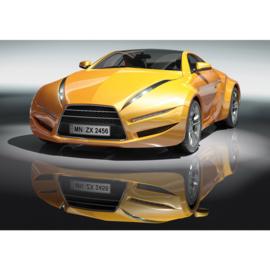 Fotobehang 1591 sportauto race geel cars