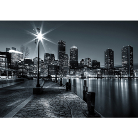 Fotobehang 0843 USA New York zwart wit nacht lantaarn