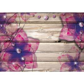 Fotobehang poster 2051hout planken beige bloemen roze paars glitter