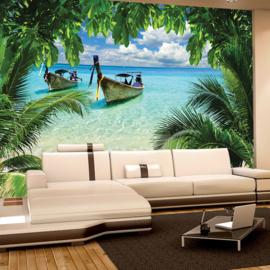 Fotobehang poster 0649 strand zee boot uitzicht