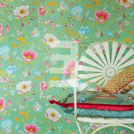 Eijffinger pip studio 341005 bloem mint groen , chinese garden