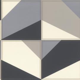 Club 419207 leer blokken stiksel grijs zwart wit taupe