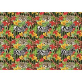 Fotobehang poster 2078 dieren giraf zebra luipaard
