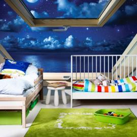 Fotobehang poster 3318 dakraam zee sterren wolken