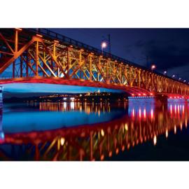 Fotobehang 1845 brug skyline nacht