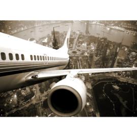 Fotobehang poster 0048 boeing vliegtuig skyline vakantie airplane