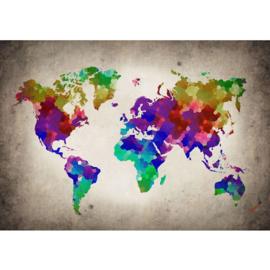 Fotobehang 3177 wereldkaart regenboog kleuren