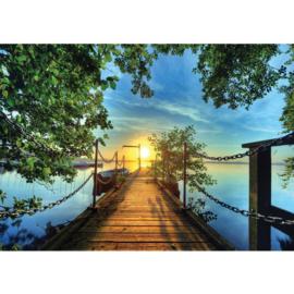 Fotobehang poster 0636 steiger zonsondergang boot water zee boom