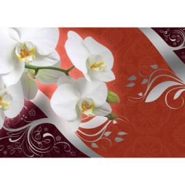 Fotobehang poster 1834 orchidee wit planten bloemen patroon rood oranje