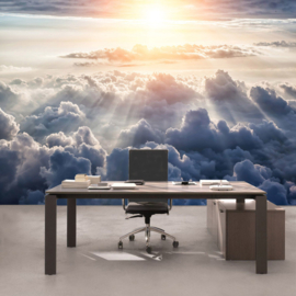 Fotobehang poster 3222 wolken zon zonnestralen boven de wolken clouds