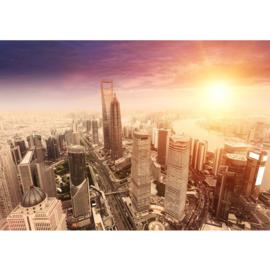 Fotobehang poster 0050 shang hai skyline bruin tower
