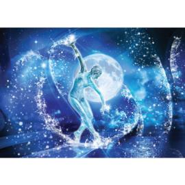 Fotobehang poster 0963 vrouw in golf sculptuur styrand water blauw