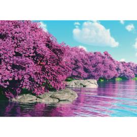 Fotobehang poster 3569 bloemen bomen rotsen