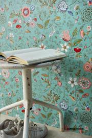 Eijffinger pip 4 375002 aqua/bloemen/vogels/vlinders