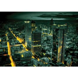 Fotobehang 0955 skyline groen geel lichtjes