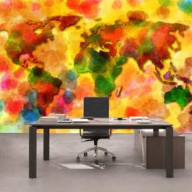 Fotobehang 3332 wereldkaart  aquarel