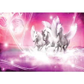 Fotobehang poster 1078 dieren pegasus paarden met vleugels roze