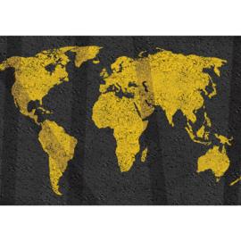Fotobehang 3169 wereldkaart asfalt geel zwart