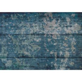 Fotobehang poster 2131 hout vintage blauw