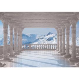 Fotobehang poster 2085 terras uitzicht op bergtoppen met sneeuw