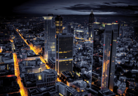 Fotobehang 0956 skyline blauw geel lampjes
