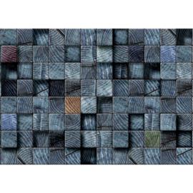 Fotobehang poster 1270 hout balken blauw